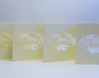 Paper cut thank you card, Mini thank you card pack, Set of 4, Cream thank you card, Scallop cards, Thank you note cards