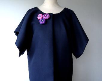 Kimono jacket Della fabric Navy Blue peacoat