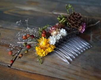 Winter Wedding Hair Accessory Wedding Hair Comb dried flower Hair flowers dried flower garden wedding bridal headpiece hair accessories