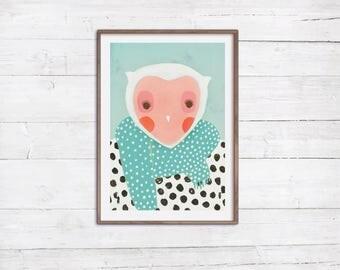 Frau Eule Illustration Portrait A4 Print Poster Druck Wanddekoration Kinderzimmer Babyzimmer