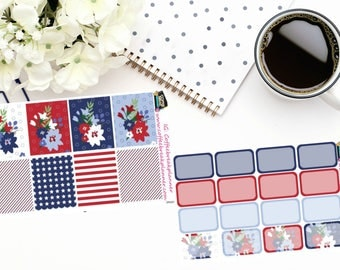 Planner Stickers| Patriotic Floral Stickers|Patriotic Themed Stickers|Full and Half Boxes|For use in various planners|PF001 PF002