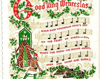Box of 36 Vintage Unused Christmas Carol Napkins w Song and Music Sheets