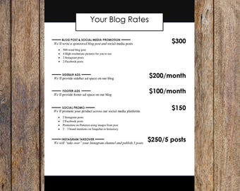 Simple Ad Rates Template   Blog Media Kit, Branding Kit, Blog Kit, Branding Package   Editable for MS Word   Instant Download