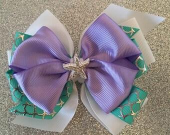 Little Mermaid Bow Ariel Hair Bow with Rhinestone Starfish Purple Mermaid Bow Pink Mermaid Bow Disney Princess Bow Aqua Mermaid Bow