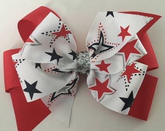 July 4th Hair Bow Fourth of July Bow Patriotic HAir Bow Bow with Red and Blue Stars Silver Patriotic Bow Shiny 4th of July Bow