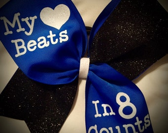 My HEART beats in 8 COUNTS Cheer bow~CHOOSE Colors