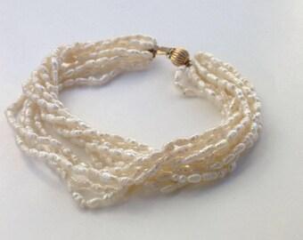 Vintage Cream White Rice Freshwater Pearl Beads 14k Gold Clasp 10 Strands Bracelet
