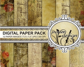 shabby papers, digital background, Scrapbook, printable paper, grunge, vintage wedding, romantic of roses, old paper pack #14