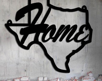 Texas Home - Texas State - Home & Garden - Large (23 w x 22 1/4 h) Metal Art - Indoor - Outdoor