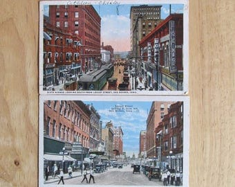 Vintage Iowa Postcards, 1920s Street Scene, Cable Cars, Early Downtown Des Moines, Midwest History