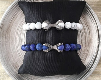 Turquoise and Sodalite men - bracelet with silver claw adorned with Zirkonia-stones
