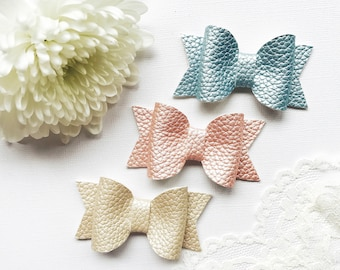 Set of 3 Pastel Hair Bows, girls bows, toddler bows, baby bows, hair bow headband, clip bows, bow clips, hair bow clip