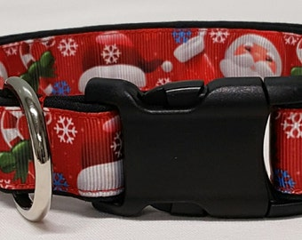 dog collar, Here Comes Santa Claus, christmas dog collar, christmas collar, santa, santa claus, holiday dog collar, holiday collar, xmas