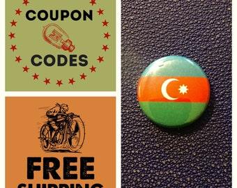Azerbaijan Flag Button Pin, FREE SHIPPING & Coupon Codes