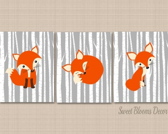 Fox Nursery Wall Art,Gray Fox Nursery Wall Art,Woodland Nursery Wall Art,Fox Nursery Wall Decor,Fox Baby Gift,Gray Nursery-UNFRAMED 3 C187