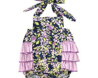 Madeline's Dark Floral Ruffle Bubble Romper | Purple Ruffles | Floral, Flower, Dark, Purple, Lavender, Purple Girl Baby Romper