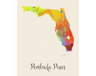 Pembroke Pines Florida Pembroke Pines Map Pembroke Pines Print Pembroke Pines Poster Pembroke Pines Art Pembroke Pines Gift