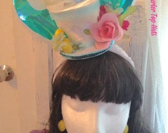 Easter mini top hat headband whimsical tophat Easter party spring pastels rabbit roses