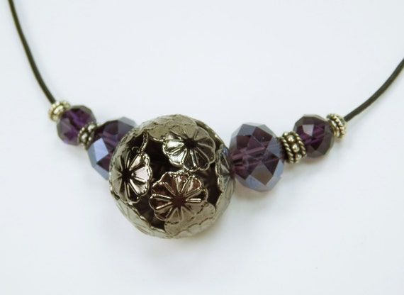 Necklace Purple pearl necklace black ball with floral pattern and purple beads on black leather strap jewelry dark Purple