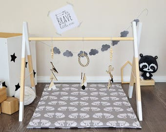 Modern Wooden Baby Gym with Gym Toys and Play Mat - White * Dream Catcher / Play Gym / Activity Gym