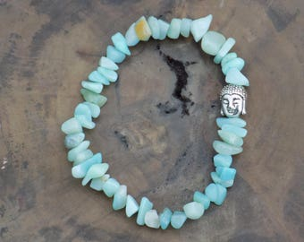 Amazonite Bracelet - Meditation Bracelet - Buddha Charm - Crystal Healing - Crystal Specimen - Spiritual Jewelry - Yoga Bracelet.