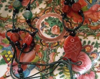 Carnelian/Red Jade Hand Carved Malay Fish Necklace Etched Agate/Quartz Disks Black Glass Spacers Mid-Twentieth c San Francisco