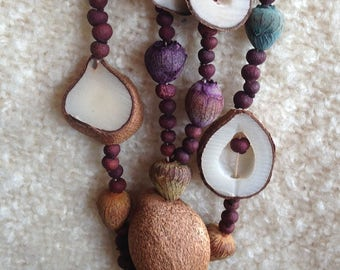 Vintage Mid-Century Hawaiian Handcrafted Seed Necklaces  - Juvenile Tree Coconut and Various Tropical Tree Nuts -15/18 Inches Length Each