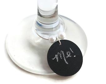 Chalkboard Wine Charms, Chalkboard Wine Glass Charm, Chalkboard Wine Glass Tags, Chalkboard Wine Glass Marker, Pearl Wine, Adult Party Favor