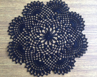 Black Crochet Napkin Crochet Doily Handcrafted Home Decor Lace doily