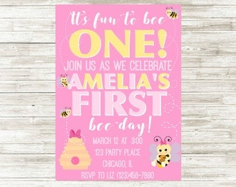 Bumble Bee Birthday Invitation, First Birthday