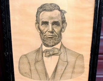 RARE Antique ABRAHAM LINCOLN Lithograph 1926 Nathan Chasin Calligraphic Portrait 22x16.75