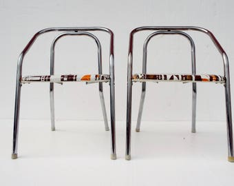 Pair of Little Retro Fold-up Vinyl and Chrome Toddler Card Table Chairs