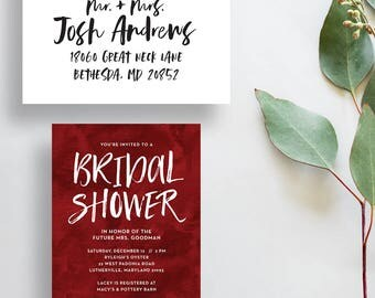 watercolor bridal shower invitations // red bridal shower invite // cranberry watercolor invite // PRINTED invites // custom