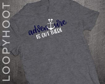 "Disney Cruise Shirts ""Adventure is out there"" Mouse Anchor Family Vacation shirt in Deep Heather GRAY"