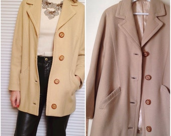 Vintage 70 sand beige wool jacket coat s (38)