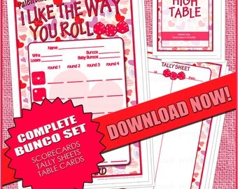 Bunco Printables-Valentine.....I Like the Way you Roll!