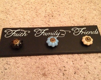 Lovely reproduction vintage black hand painted sign with vintage drawer pulls