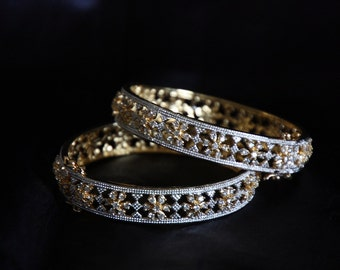 Cz Floral Pattern Bangles / Cz Bracelet / Indian Jewelry / Bridal Jewelry / Gold Finish Cz Bangles / Gift For Her / Bollywood Jewelry