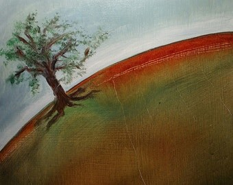 Oil Painting - Tree on a hill - 6x6