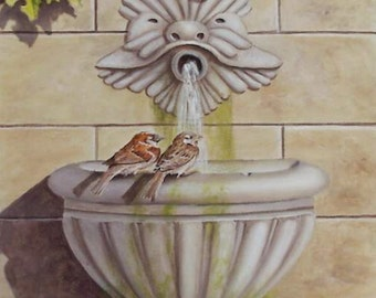 Painting trompe l'oeil, the fountain at the sparrows, Acrylic paint