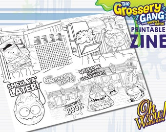 Grossery Gang Party Theme Digital Coloring Book Zine