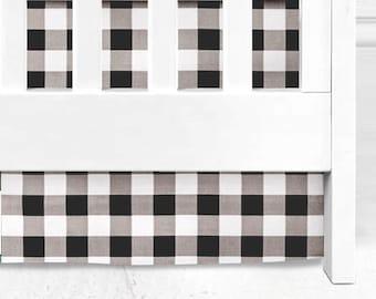 Buffalo Check Crib Skirt, Baby Crib Skirt, Black and White crib skirt, lumberjack bedding, lumberjack baby, hunter, crib bedding, check