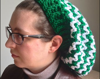 Adult Green and White Slouchy Hat