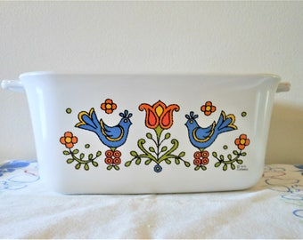 Vintage Corning Country Festival Loaf Pan, Corning Ware Blue Bird Baking Dish, Vintage Corningware  1 1/2 Quart Casserole Made in USA P-4-B