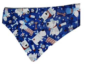 Uncle Sam glitter reversible dog bandana |USA|American|Summer picnic and holidays| Gifts for dogs