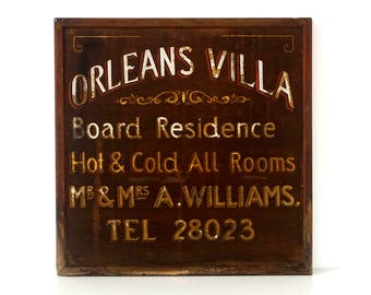 Original Vintage Hotel Sign - Hand Painted Wooden Sign - 'Orleans Villa' -  Bed & Breakfast Sign