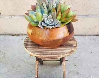 Wooden folding/ foldable  round plant stand display