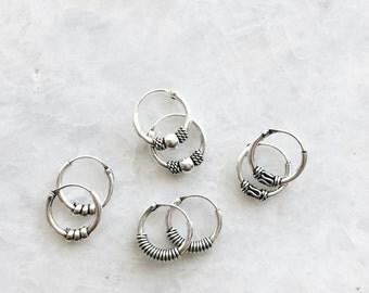 10mm Bali hoops mixed lot set, Set of sterling silver Bali hoops, Tiny balinese silver hoop earrings, Ethnic hoops, Tribal hoops (H96)