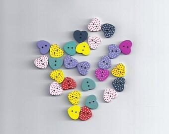 10Pcs Mixed Polka Dot Heart Wood Wooden Sewing Buttons 15mm Craft Scrapbookin 17