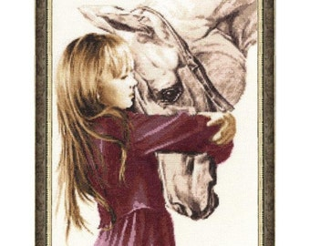 Cross Stitch Kit Girl with horse